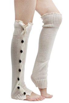 Lalang Knee High Knit Socks White - intl