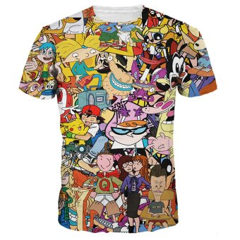 Bluelans Women Men Summer Cartoon 3D Digital Print T-Shirt Short Sleeve Tee Tops Blouse - intl