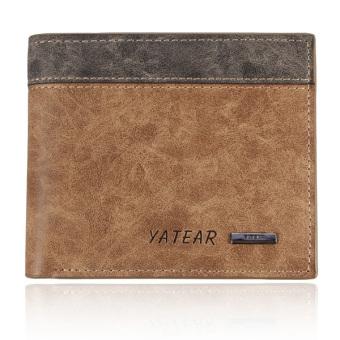 Men's Leather Bifold Wallet Holder Purse Clutch Pockets Brown - Intl