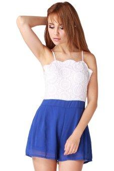 Lalang Backless Suspenders Jumpsuit (White/Blue) - Intl
