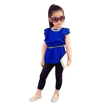 Girls 2Pcs Flouncing Short Sleeve Waistband Belt Chiffon Top Plus Pants - Intl - intl
