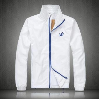Áo khoác dù thêu logo (Trắng)