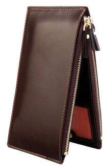 Bluelans Mens Faux Leather Zipper Id Credit Card Holder Bifold Wallet Coffee (Intl)