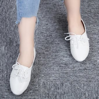 Retro Ladies Solid Color Lace Up Casual Flat Shoes(White) - intl