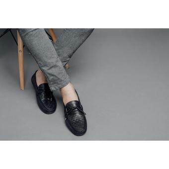 Giày lười nam Laforce hàng hiệu thắt nơ kẻ ô GNLA869-3-D