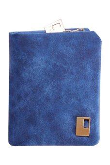 Bluelans Women Matte Faux Leather Zipper Hasp Wallet Purse Card Handbag Blue (Intl)