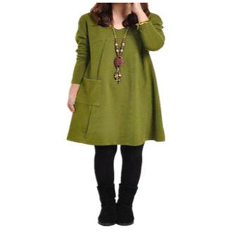 ZANZEA Pocket Tunic Loose Pregnancy Cotton Women Casual Long Sleeve Dress (Intl)