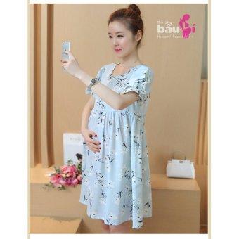 Đầm bầu thô cut vai (xanh)