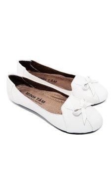 Giày búp bê nữ da bò Minh Tâm MT751GN (Trắng)