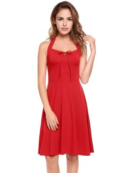 Linemart Women Casual Back Lace Up Collar Sleeveless Pullover Solid Pleated Dress ( Red ) - intl