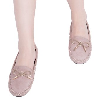 Handwork Bowknot Design Round Toe Flat Shoes(Apricot) - intl