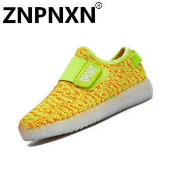 Fashion Sneakers Comfort Children Usb Led Flash Casualsneakers Size 25-37(Yellow) - intl