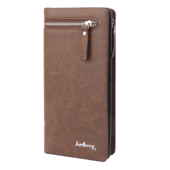 BolehDeals Men's PU Card Holder Zip Wallet Purse Billfold Clutch Checkbook Light Brown - Intl