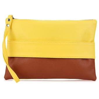 Block Zipper Portable Clutch Bag Women - intl
