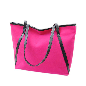 Simple Winter Larger Capacity Leather Suede Women Bag Messenger Hot Pink - Intl