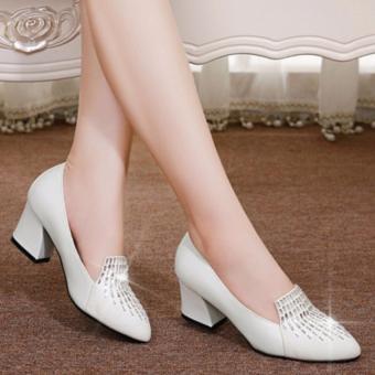 Giày da gót vuông đính đá giọt nước ( Trắng )