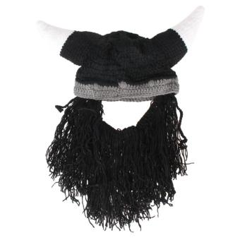 Vikings Beanies Beard Horn Hats Handmade Knitted Winter Warm Cap Party Mask - intl