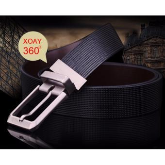Dây nịt da nam thời trang DN49 (Dây đen, mặt bạc)