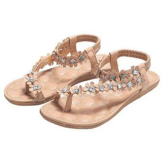 Cyber Fashion Women Ladies Bohemia Style Floral Resin Rhinestone Elastic Band One Toe Flat Heel Sandal Thong Slipper (Pink) - intl