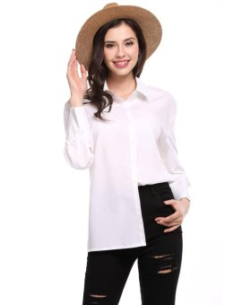 Cyber Womens Casual Long Sleeve Loose Back Bow Solid Button Down Shirt ( White ) - intl
