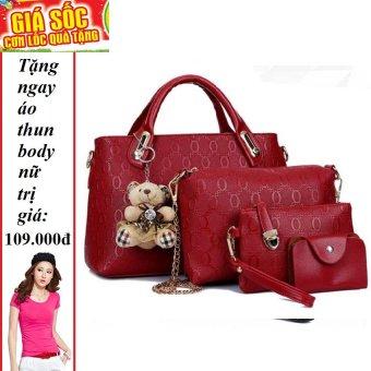Bộ 4 túi họa tiết cao cấp ( Đỏ) + Tặng 1 áo thun body nữ