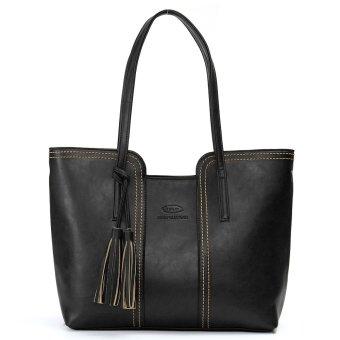Fashion Lady Women Leather Handbag Tassel Shoulder Bag Tote Purse Messenger Bag 1 x Bag Black - intl