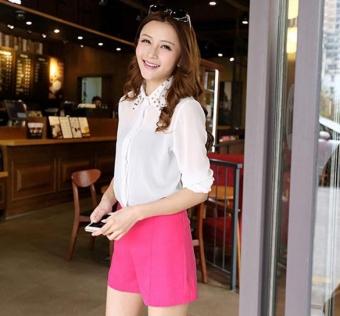 Sunweb Fashion Girls Women High Waist Pants Solid Casual Shorts (Wine Red) - Intl