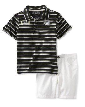 Bộ quần short & áo thun bé trai cao cấp Kenneth Cole Little Boys' Stripes Polo Top With Short (Mỹ)
