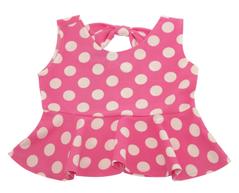 Áo peplum thun xốp chấm bi bé gái 1-10 tuổi Tri Lan ABG012 (Hồng bi trắng)