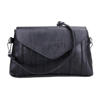 Women PU Leather Flip Messenger Clutch Shoulder Bag (Black) - intl