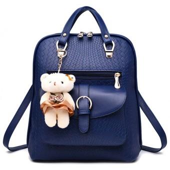 3 in 1 PU Leather Casual Outdoor Travel Tablet Bag Handbag Backpack Shoulder Bag with Bear Pendant Royal Blue - intl