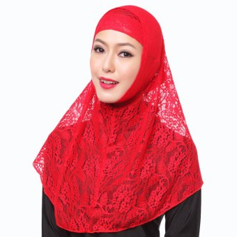 New Fashion Full Cover Muslim Hijab Two Piece Set Lace Solid Islamic Turban Cap Beanies Red - intl