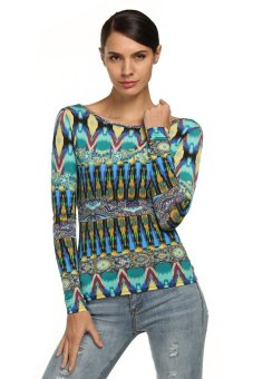 Cyber Zeagoo Women Casual Long Sleeve Round Neck Backless Floral Print T-shirt Tops ( Green ) - Intl