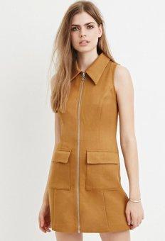 YOINS 2016 New Summer Style Women Vest Dress Fashion Front Zipper Mini Dress Casual Turn Down Collar Slim Dress Vestidos - intl