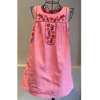Đầm Linen thêu Somy Kids hồng cam