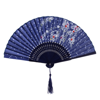 Flower Pattern Hand Banboo Japanese Folding Pocket Fan Blue - Intl