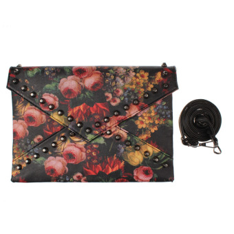 Women Rivet Handbag Vintage Oil Painting Envelope Purse Shoulder Bag - Intl