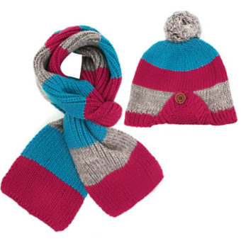 New Winter Children Scarf Hat Set Knitted kids Hats & Caps(Rose Red) - Intl
