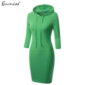 Women's 3/4 Raglan Sleeve Hoodie Knee Length Dress Solid Color With Pockets(Green) - intl