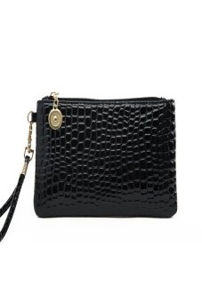 HKS Women Fashion Leather Wallet Zip Around Case Purse Long Handbag Bag (Black) - intl