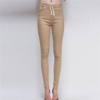 LALANG Fashion Women Skinny Leggings Exposed Knee Holes Feet Pants (Khaki) - Intl