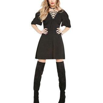 V-Neck Lace-up High Waist Chiffon Dress - Intl