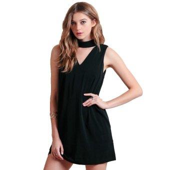High Collar Pocket Woman Dress Zipper Back Sleeveless A-line Dress - intl