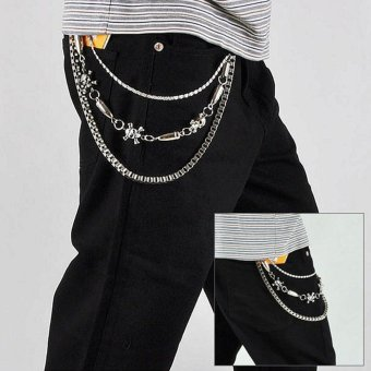 Personalized Skull Stitching Bullet Trousers Chain - intl