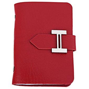 Card Holder Wallet Multi Card Slot H Button Belt Design Solid Color (Red) - intl