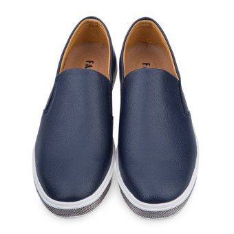 Male Casual Leather Slip On Flat Shoes (Blue) - intl
