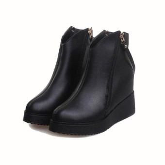 2016 Women Winter Wedge Zip Ankle Boots Leather Shoes Platform Hidden Heel Shoes - Intl - Intl