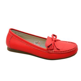 Giày nữ thấp da bò thật cao cấp Đỏ ESW09