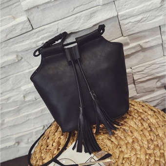 Leather Handbags Fashion Bucket Vintage Shoulder Bags Women Messenger Bag Black - intl