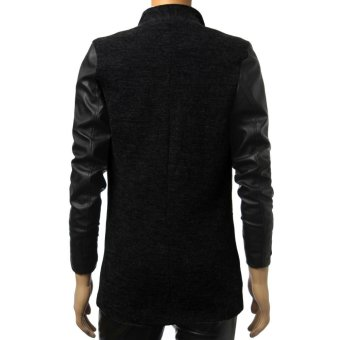 Fashion Men PU Leather Slim Fit Cardigan Casual Blazer Jackets - Intl